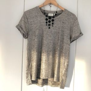 Anthropologie Deletta Metallic Shimmer T-Shirt